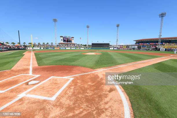 General view of the empty playing field prior to the Spring Training game between the Philadelphia Phillies and the Detroit Tigers at Publix Field at...