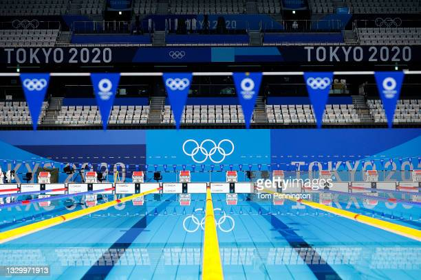 General view of the empty pool during aquatics training at the Tokyo Aquatics Centre ahead of the Tokyo 2020 Olympic Games on July 22, 2021 in Tokyo,...