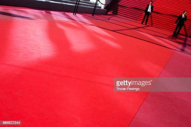 A general view of the empty red carpet during the 70th annual Cannes Film Festival at on May 22 2017 in Cannes France