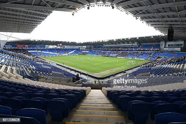 A general view of the empty seats at the Cardiff City Stadium as the televised fixture suffers a low attendance during The Emirates FA Cup 3rd Round...
