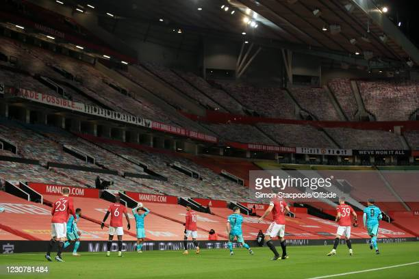 General view of the empty seats during The Emirates FA Cup Fourth Round match between Manchester United and Liverpool at Old Trafford on January 24,...