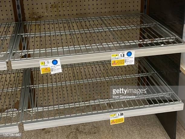 A general view of the empty shelves and out of stock labels in the bleach and cleaning supply isle on March 13 2020 at Shop Rite Supermarket in...
