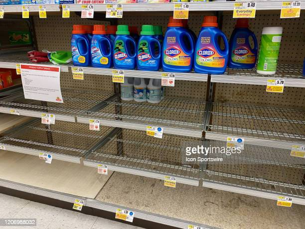 A general view of the empty shelves in the bleach and cleaning supply isle on March 13 2020 at Shop Rite Supermarket in Millburn NJ