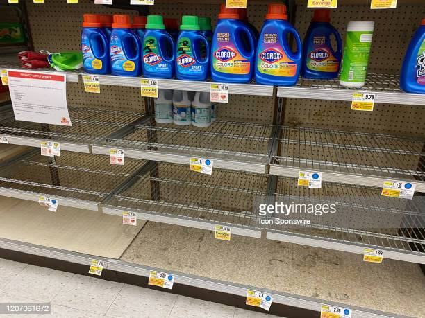 A general view of the empty shelves in the bleach and cleaning supply isle on March 13 2020 at Shop Rite Supermarket in Millburn NJ The empty store...