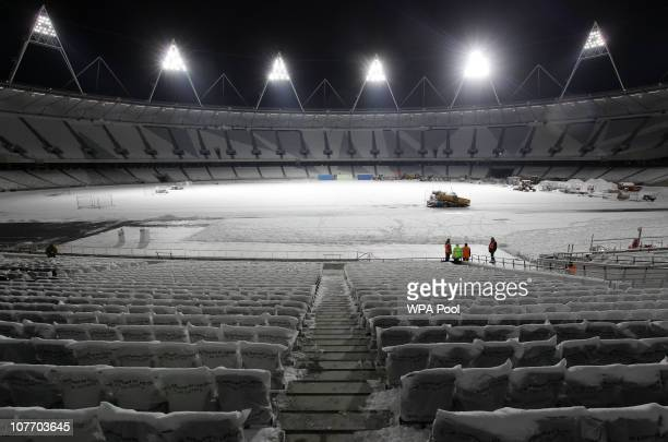 A general view of the empty snowcovered London 2012 Olympic Stadium after an official switching on ceremony on December 20 2010 in Stratford London...