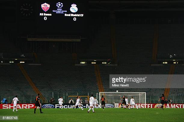 A general view of the empty Stadio Olimpico during the UEFA Champion's League group B match between AS Roma and Real Madrid on December 8 2004 at the...