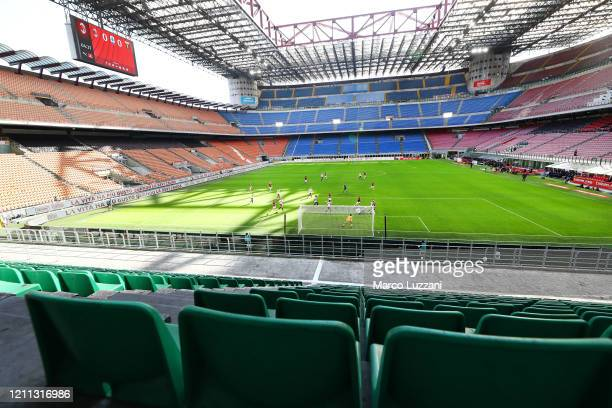 General view of the empty stadium according to the rules to limit the spread of Covid19 during the Serie A match between AC Milan and Genoa CFC at...