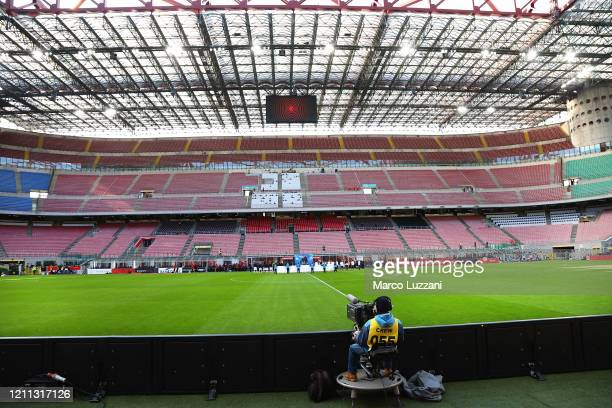 General view of the empty stadium according to the rules to limit the spread of Covid-19 during the Serie A match between AC Milan and Genoa CFC at...