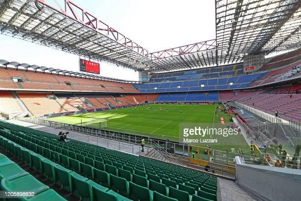 General view of the empty stadium after rules to limit the spread of Covid-19 have been put in place before the Serie A match between AC Milan and...