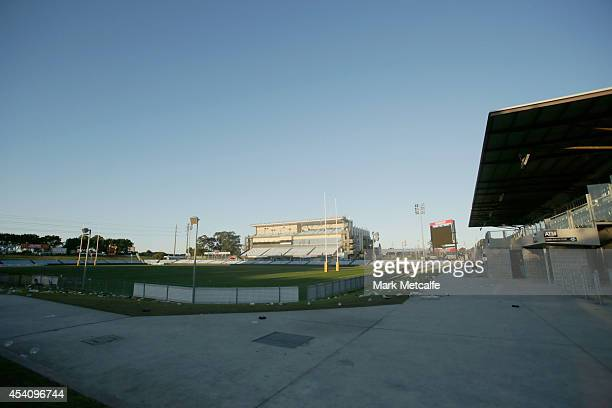 General view of the empty stadium after the round 24 NRL match between the Cronulla Sharks and the Canberra Raiders at Remondis Stadium on August 24,...