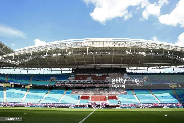 General view of the empty stadium ahead of the Bundesliga match between RB Leipzig and Borussia Dortmund at Red Bull Arena on June 20, 2020 in...