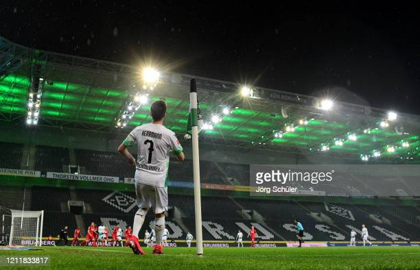 General view of the empty stadium as Patrick Herrmann of Borussia Monchengladbach takes a corner during the Bundesliga match between Borussia...