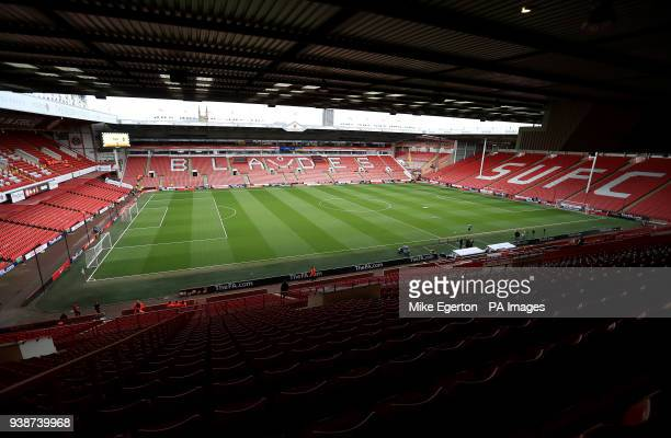 General view of the empty stadium before the UEFA European U21 Championship Qualifying Group 4 match at Bramall Lane Sheffield
