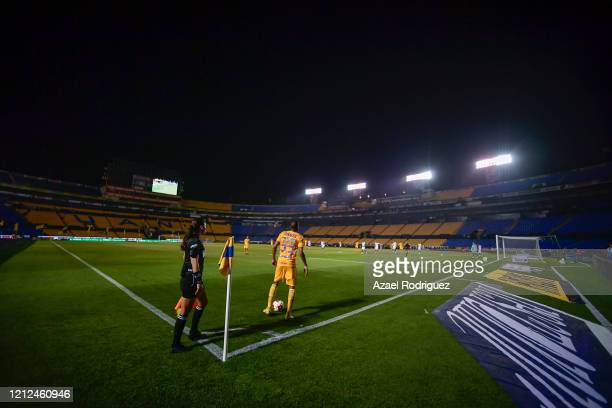 General view of the empty stadium during the 10th round match between Tigres UANL and FC Juarez as part of the Torneo Clausura 2020 Liga MX at...