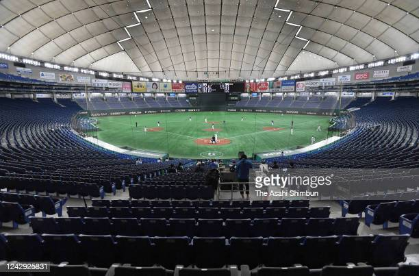 General view of the empty stadium during the practice game between Seibu Lions and Yomiuri Giants at the Tokyo Dome on June 2, 2020 in Tokyo, Japan.