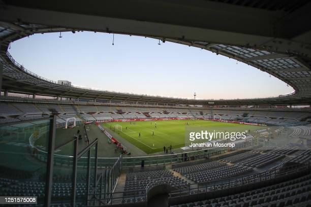 General view of the empty stadium during the pre-match warm-up before the Serie A match between Torino FC and Udinese Calcio at Stadio Olimpico di...