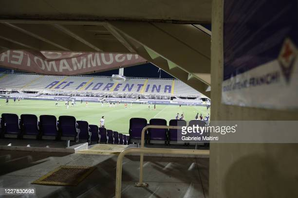 General view of the empty stadium during the Serie A match between ACF Fiorentina and Bologna FC at Stadio Artemio Franchi on July 29, 2020 in...