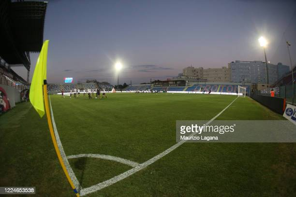 General view of the empty stadium during the serie B match between FC Crotone and Benevento Calcio at Stadio Comunale Ezio Scida on July 03, 2020 in...