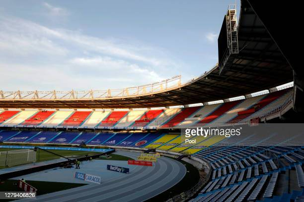 General view of the empty stadium prior to a match between Colombia and Venezuela as part of South American Qualifiers for Qatar 2022 at Estadio...