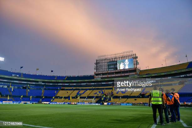 General view of the empty stadium prior to the 10th round match between Tigres UANL and FC Juarez as part of the Torneo Clausura 2020 Liga MX at...