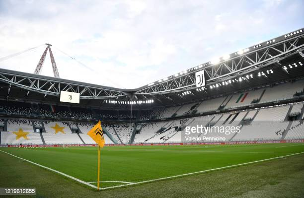 General view of the empty stadium prior to the Coppa Italia Semi-Final Second Leg match between Juventus and AC Milan at Allianz Stadium on June 12,...