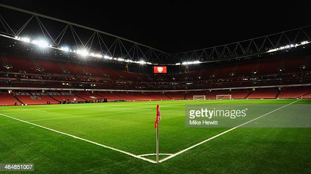 A general view of the empty stadium prior to the FA Cup with Budweiser Fourth round match between Arsenal and Coventry City at Emirates Stadium on...