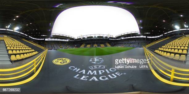 A general view of the empty stadium prior to the UEFA Champions League Quarter Final first leg match between Borussia Dortmund and AS Monaco at...