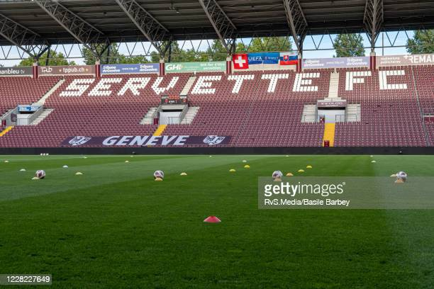 General view of the empty stand prior the UEFA Europa League qualification match between Servette FC and MFK Ruzomberok at Stade de Geneve on August...