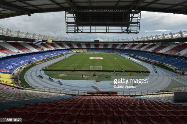 General view of the empty stands before a match between Colombia and Uruguay as part of South American Qualifiers for Qatar 2022 at Estadio...