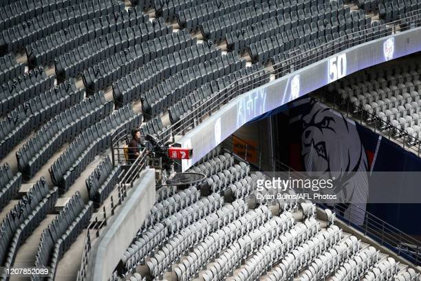 General view of the empty stands before the 2020 AFL Round 01 match between the Western Bulldogs and the Collingwood Magpies at Marvel Stadium on...