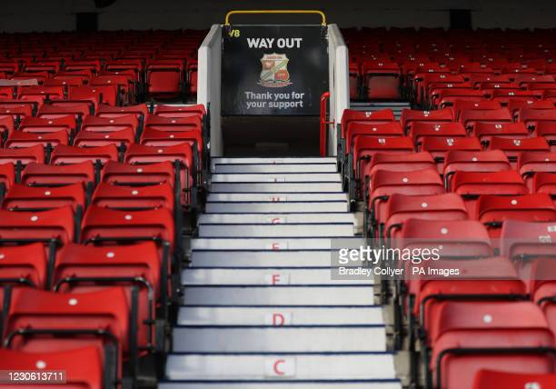 General view of the empty stands before the Sky Bet League One match at The County Ground, Swindon.