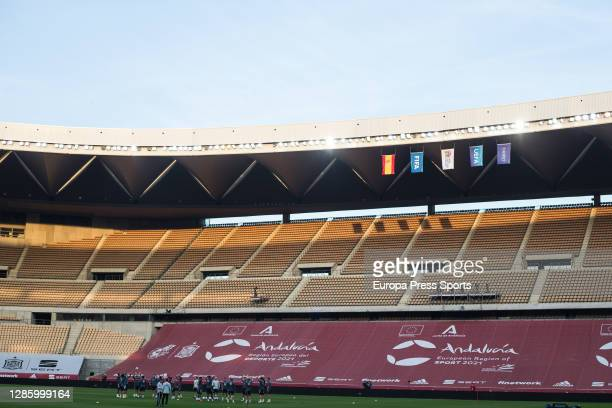 General view of the empty stands during a Germany training session ahead of the UEFA Nations League match against Spain at Olympic Stadium on...