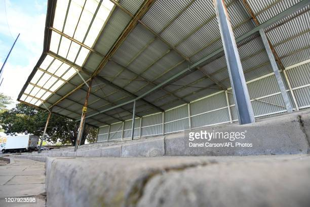 General view of the empty stands during the 2020 AFLW Semi Final match between the Fremantle Dockers and the Gold Coast Suns at Fremantle Oval on...