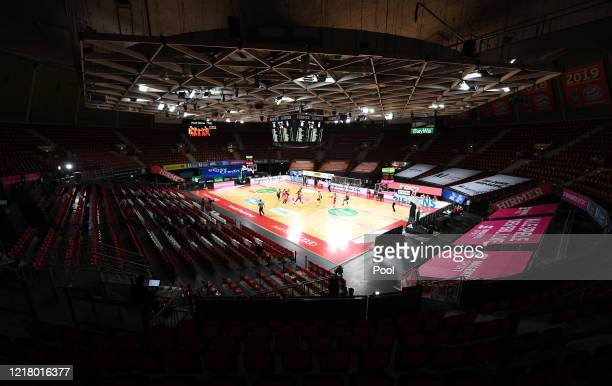 General view of the empty stands during the EasyCredit Basketball Bundesliga match between FC Bayern Muenchen and Ratiopharm Ulm at Audi Dome on June...