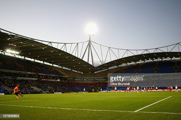 A general view of the empty stands during the FA Cup sponsored by EON 3rd round match between Bolton Wanderers and York City at Reebok Stadium on...