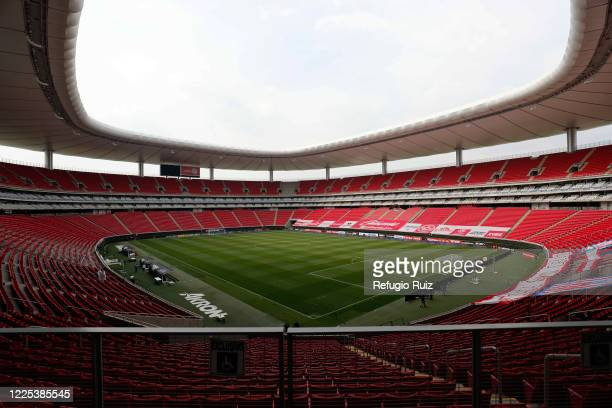 General view of the empty stands of Akron stadium before the game between Atlas and Mazatlan FC as part of the friendly tournament Copa GNP por...