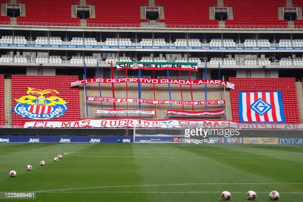 General view of the empty stands of Akron stadium before the game between Chivas and Tigres UANL as part of the friendly tournament Copa GNP por...