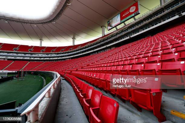 General view of the empty stands of Akron stadium before the game between Chivas and Mazataln FC as part of the friendly tournament Copa GNP por...