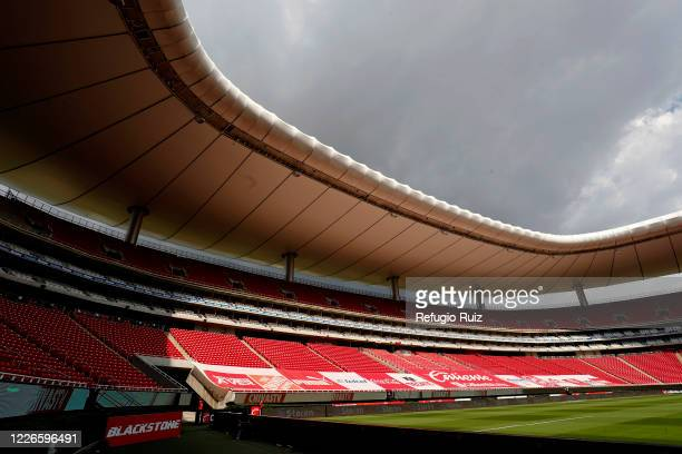 General view of the empty stands of Akron stadium before the game between Atlas and Tigres UANL as part of the friendship tournament Copa GNP por...