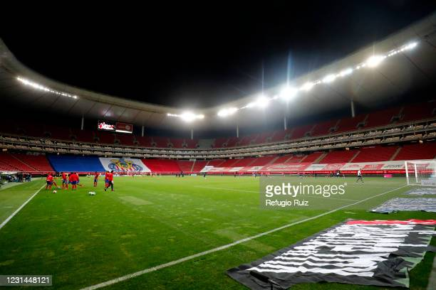 General view of the empty stands of Akron stadium before the game between the 8th round match between Chivas and Pumas UNAM as part of the Torneo...