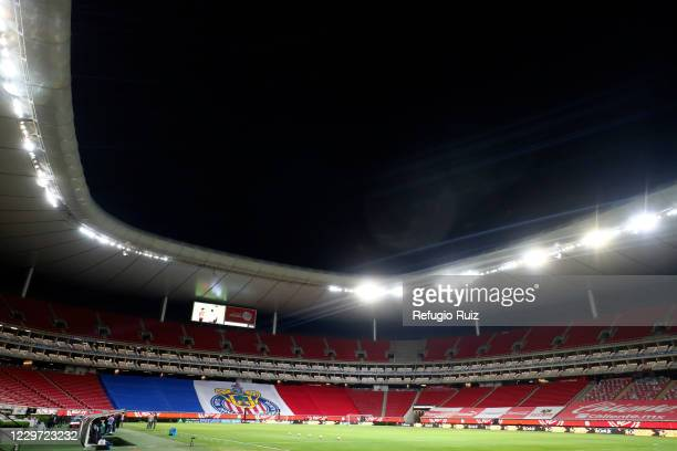 General view of the empty stands of Akron stadium before the repechage match between Chivas and Necaxa as part of the Torneo Guard1anes 2020 Liga MX...