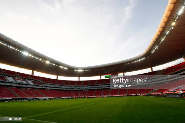 General view of the empty stands of Akron stadium during the game between Mazatlan FC and Tigres UANL as part of friendly torunament Copa GNP por...