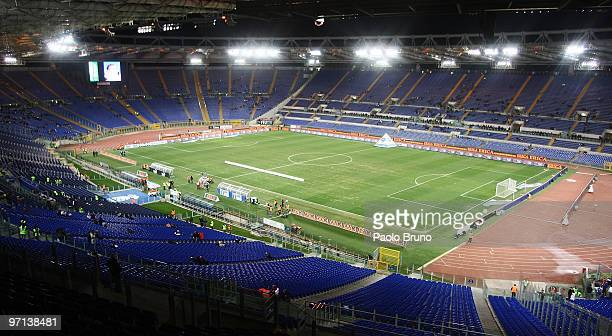 General view of the empty stands of Olimpic Stadium as the supporters of SS Lazio protest against President of SS lazio Claudio Lotito by boycotting...