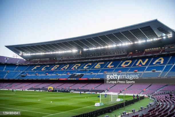 General view of the empty stands of the Camp Nou Stadium before the Spanish Women League, La Liga Iberdrola, football match played between FC...
