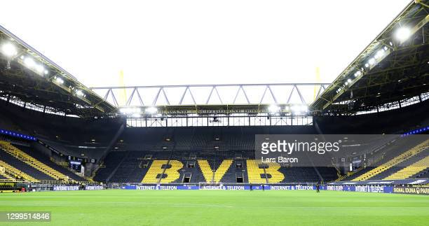 General view of the empty stands prior to the Bundesliga match between Borussia Dortmund and FC Augsburg at Signal Iduna Park on January 30, 2021 in...