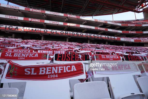 General view of the empty stands with scarves before the start of the Liga NOS match between SL Benfica and CD Tondela at Estadio da Luz on June 4...