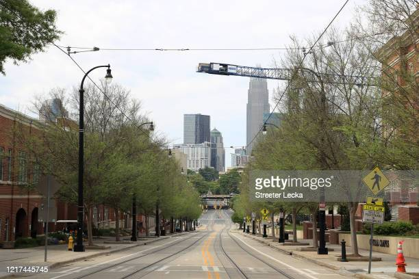General view of the empty streets during the coronavirus pandemic on April 07, 2020 in Charlotte, North Carolina. The State Department of Health and...