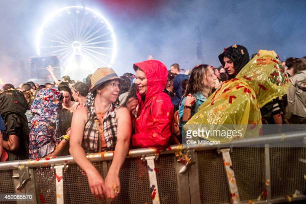 General view of the end of the second night after the Calvin Harris headline set with Will Smith on the mainstage T in The Park on July 12 2014 in...