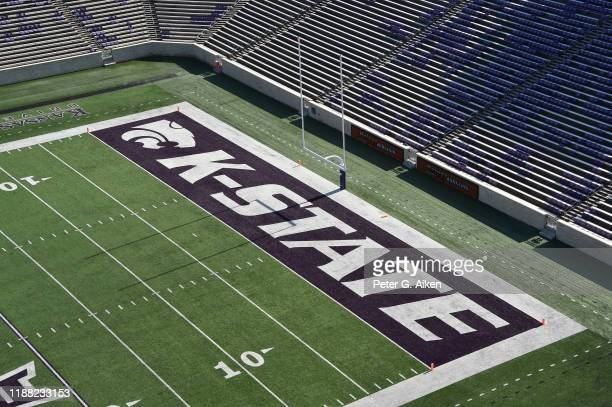 General view of the end zone at Bill Snyder Family Football Stadium prior to a game between the Kansas State Wildcats and West Virginia Mountaineers...