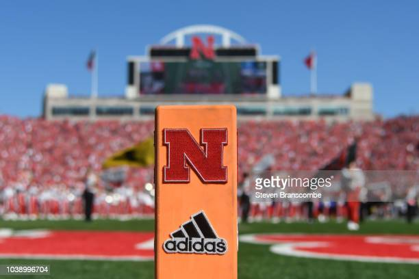General view of the end zone marker before the game between the Nebraska Cornhuskers and the Troy Trojans at Memorial Stadium on September 15 2018 in...